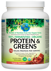 Whole Earth & Sea, Fermented Organic Protein & Greens, Organic Chocolate, 710 grams