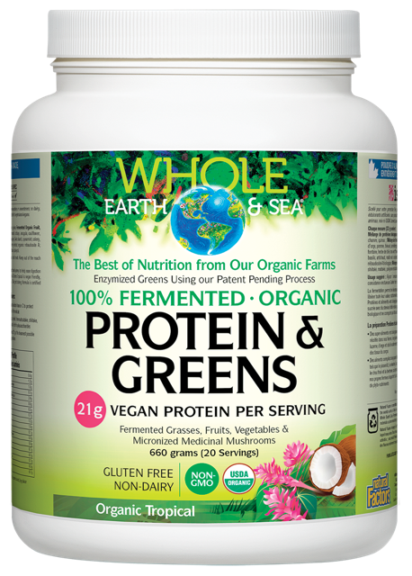 Whole Earth & Sea, Fermented Organic Protein & Greens, Organic Tropical, 710 grams