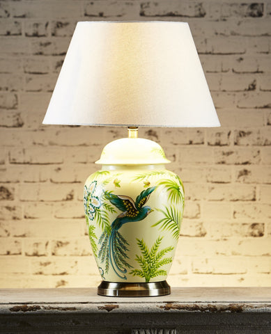 Caribbean Ceramic Lamp Base with Metal Base - Green