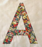 Pillowcase Personalised with a Large Single Letter Appliqué - Liberty Lawn