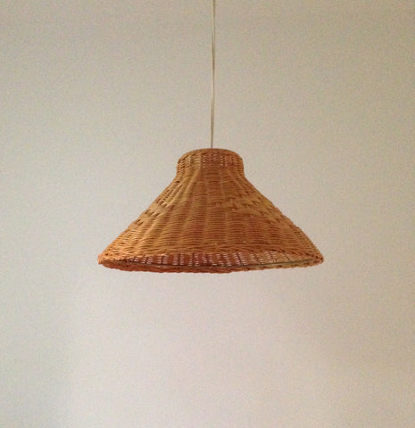 Vintage Woven Cane Pendant Lamp Shade