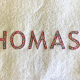 Towel Personalised - Liberty Print Name Appliqué
