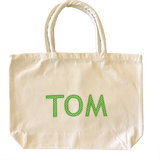 Tote Bag Personalised - Stripes Spots or Checks Name Appliqué