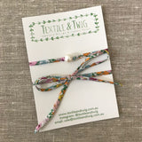 Single Large Freshwater Pearl & Liberty Lawn Necklace or Wrist Wrap - Various Liberty Prints