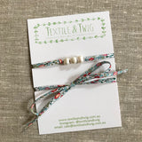Triple Medium Freshwater Pearl & Liberty Lawn Necklace or Wrist Wrap - Various Liberty Prints