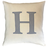 Linen Cushion Personalised with a Large Single Letter Appliqué - Stripes Spots or Checks