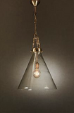 Gadsden Glass Hanging Lamp in Brass - Small, Medium or Large