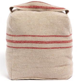 Linen Door Stop or Bookend with Red Stripes