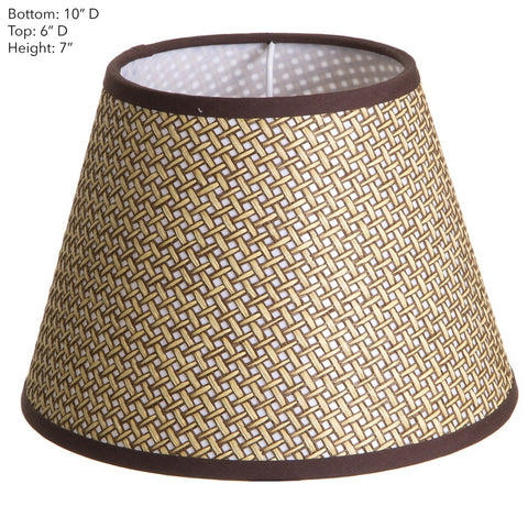 Basket Weave Lamp Shade with Chocolate Trim, Various Sizes
