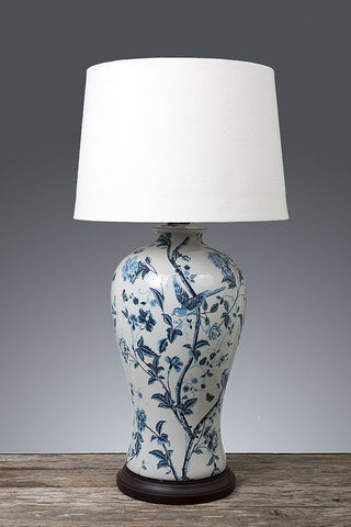Ashleigh Ceramic Lamp with Wood Base - Blue