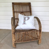 Linen Cushion Personalised with a Large Single Letter Appliqué - Liberty Lawn