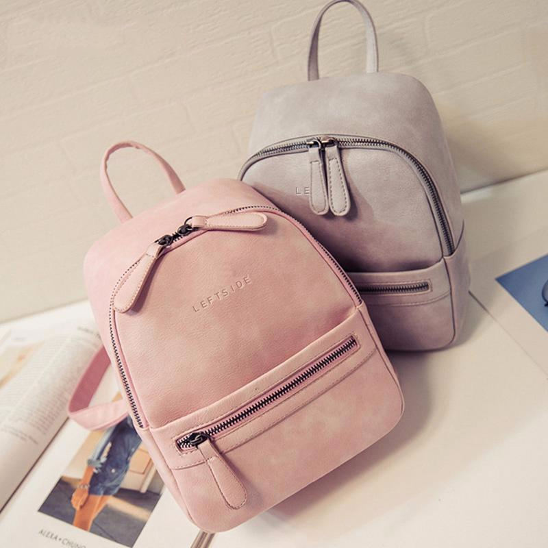 GRAY/PINK LEATHER BACKPACK