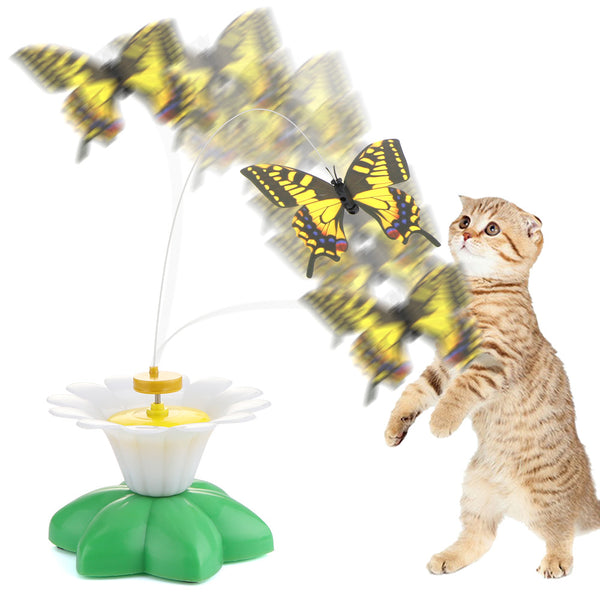 BATTERY-OPERATED ROTATING BUTTERFLY TOY FOR CATS