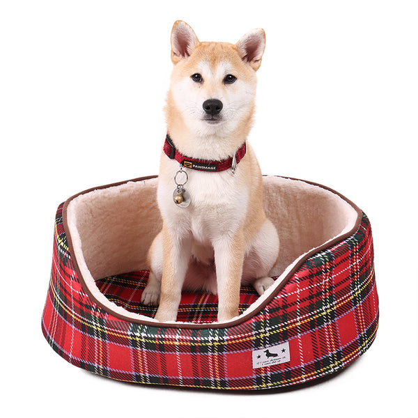 COLORFUL PLAID FLEECE BEDS FOR DOGS
