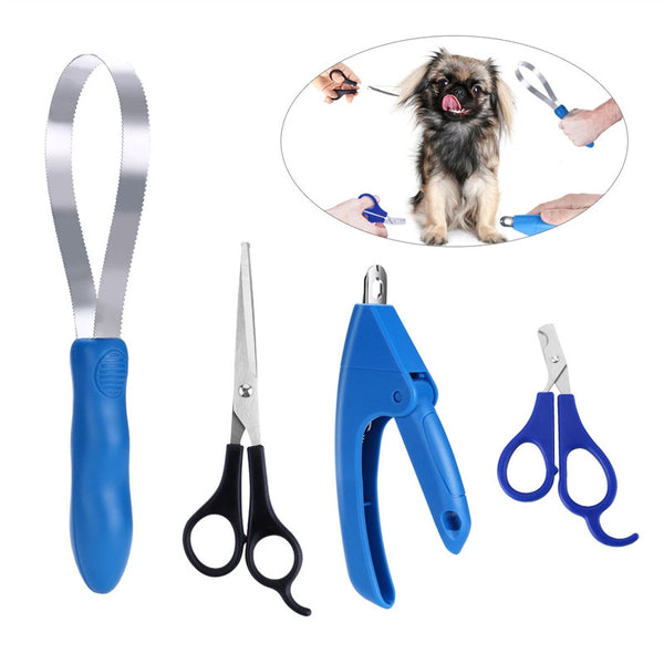 SET OF 4 STAINLESS STEEL GROOMING TOOLS FOR DOGS AND CATS