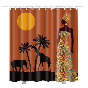 MOONLIGHT SCENE AFRICAN WOMAN SHOWER CURTAIN