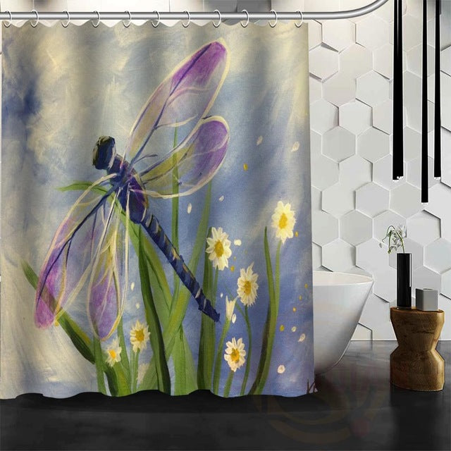 DRAGONFLY BATHROOM SHOWER CURTAINS 6 VARIANTS