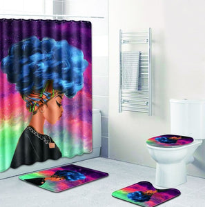 FOUR PIECE AFRICAN WOMAN SHOWER CURTAIN AND NON SLIP RUGS 10 DIFFERENT STYLES