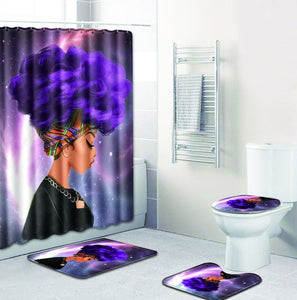 FOUR PIECE AFRICAN WOMAN SHOWER CURTAIN AND NON SLIP RUGS 10 VARIANTS