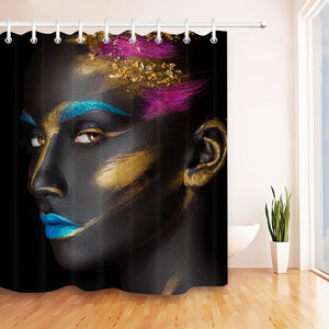 AFRICAN AMERICAN WOMAN FACE ART MAKE UP SHOWER CURTAIN
