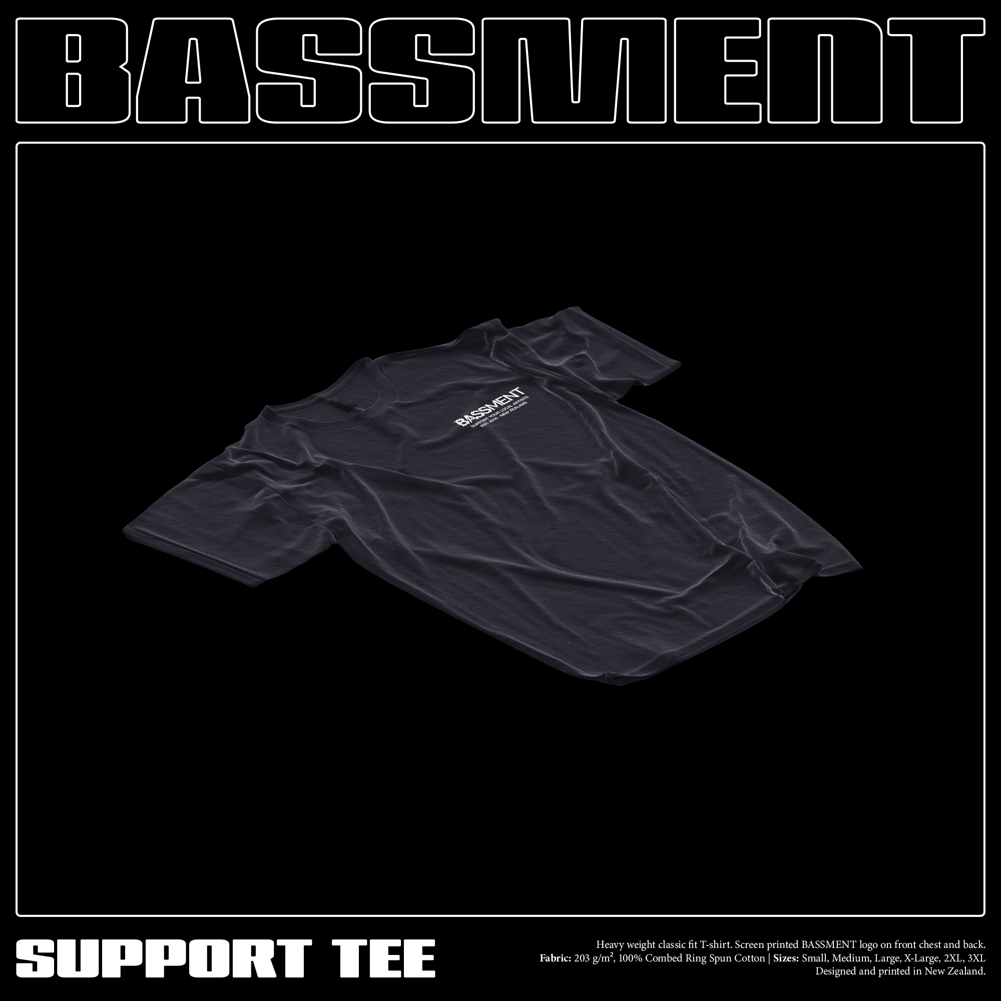 SUPPORT TEE (Black) (Last One - Large)