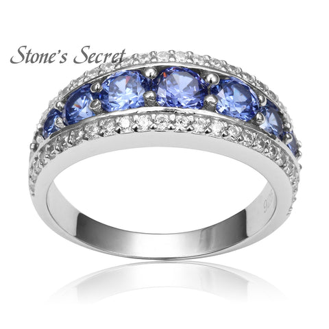 Top Quality Elegant 925 Sterling Silver Engagement Rings AAA Tanzanite CZ Sapphire Stones Rings for Woman Fine Jewelry