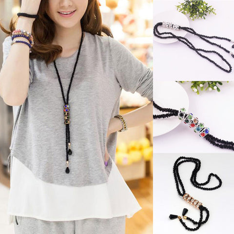 Fashion Women Statement Elegant Lady Black Beaded Necklace Rhinestone Pendant Party Sweater Chain Gift