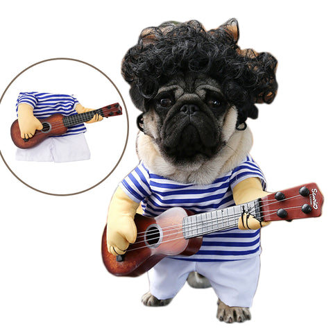 Funny Pet Guitar Player Cosplay Dog Costume