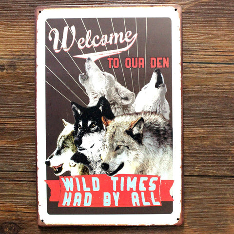 "Letter dog sign"" welcome to our den"" vintage metal tin signs 20X30cm"