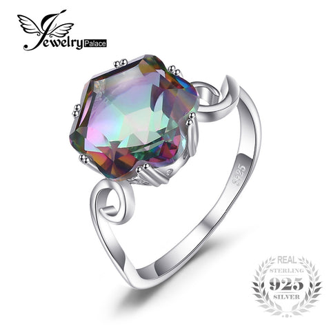 JewelryPalace 3.2ct Genuine Natural Rainbow Fire Mystic Topaz Solid 925 Sterling Silver Ring For Women 2016 Fashion Fine Jewelry