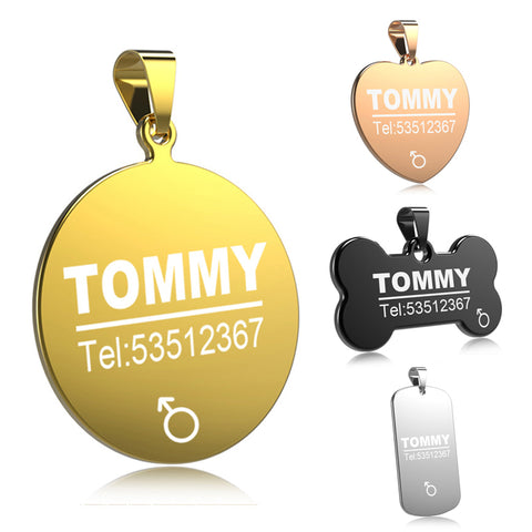 FLOWGOGO Stainless Steel Engraved Pet ID Name Tag