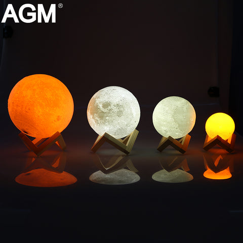 Rechargeable LED Night Light Moon Lamp 3D Print Moonlight Luna Touch 2 Colors Change Touch Switch