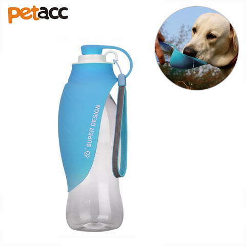 Petacc Pet Water Bottle Silicone Dog Travel Water Bottle Portable Pet Water Cup with Silicone Bowl, Leaf Pattern