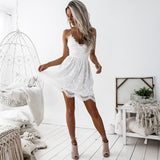 Women Summer Sweet Casual Lace Dress Female New Fashion White & Black A-Line Vestidos Retro Robe Femme Clothing Sexy Sundress