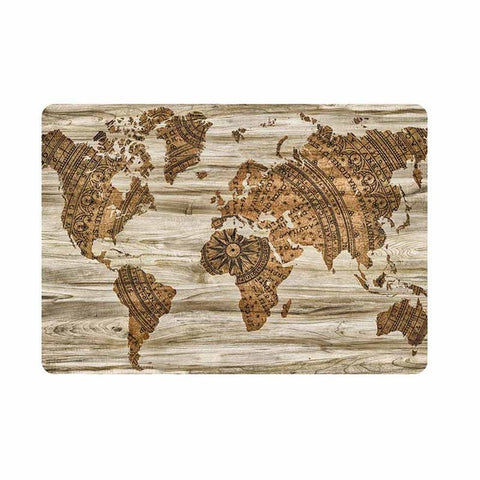 Wood World Map Laptop Full Cover Skin for Apple Macbook Air Pro Retina 11 12 13 15 inch Mac HP Notebook Protective Decal Sticker