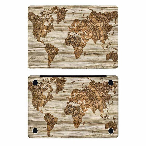 Wood world map laptop full cover skin for apple macbook air pro wood world map laptop full cover skin for apple macbook air pro retina 11 12 13 gumiabroncs Images
