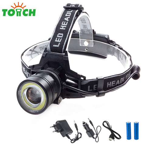 TOACH 10000LM 10W XM-L T6 LED Headlight adjustable COB Headlamp 18650 fishing hunting camping frontal head lamp+battery charger