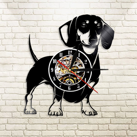 Dachshund Dog Vinyl Record Wall Clock Animals CD Wall Clock Horloge Murale Decoration Watch Relogio De Parede Gift