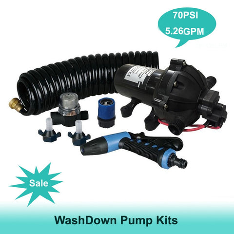 12v 5.26GPM Washdown DECK WASH Pump Kit 20L/min 70 PSI Caravan Boat