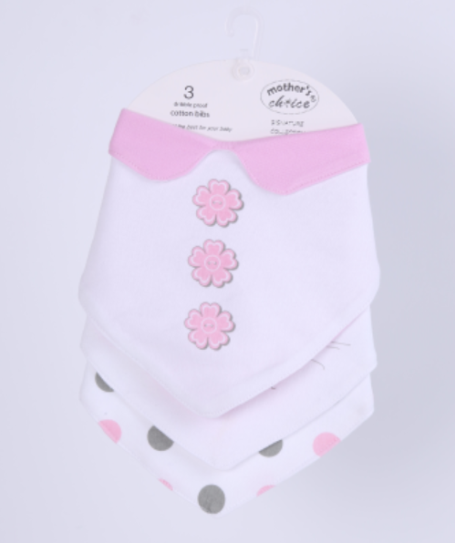 3 Bandana Bib with Collar - Pink Polka Dots
