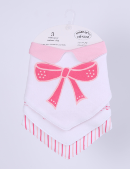 3 Bandana Bib with Collar - Pink Stripes