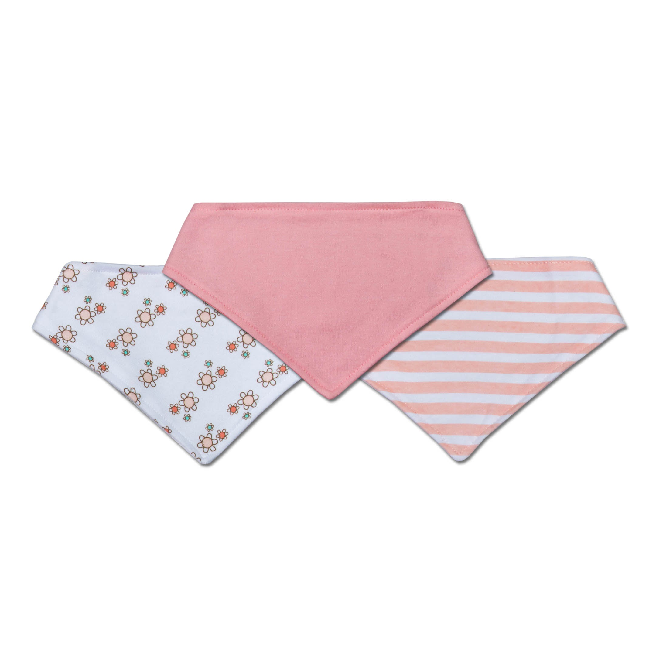 Pack of 3 Cotton Bandana Bib with Snap buttons