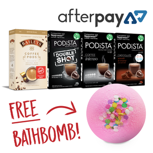 60 coffee pods with Bathbomb