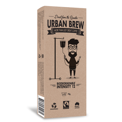 Urban Brew Biodegradable Very Intense Coffee (12/10) K-fee®* Compatible Pod 10pk