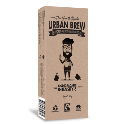 Urban Brew Intensity 6 Biodegradable Coffee Pods - Caffitaly