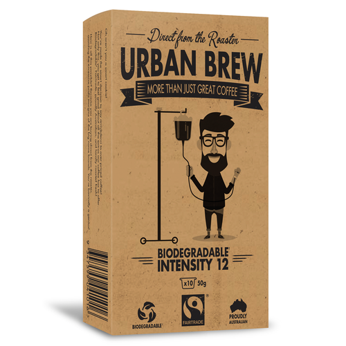Urban Brew VERY Intense 12 Coffee Biodegradable Coffee Pods