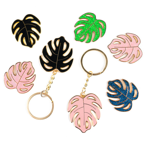 Monstera Keychain and Pin