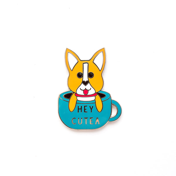 Corgi in a Cup - Hard Enamel Pin [product-vendor]- Pilea Place House Plant Store Melbourne Sydney Australia Canberra Brisbane Victoria New South Wales