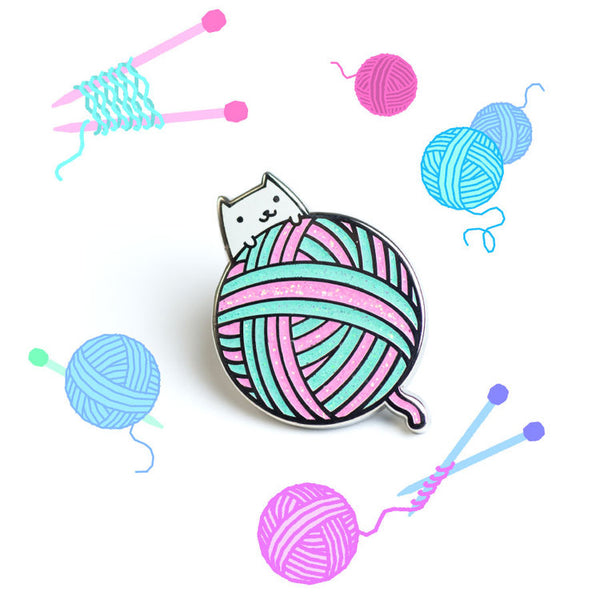 Yarn Cat - Hard Enamel pin [product-vendor]- Pilea Place House Plant Store Melbourne Sydney Australia Canberra Brisbane Victoria New South Wales