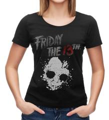 Friday The 13th Logo Jason Voorhees Women's Black T-Shirt Tee Shirt